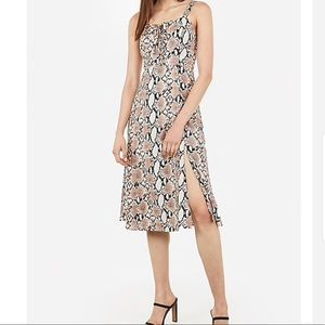 EXPRESS snakeskin print lace up midi dress